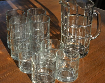 Set of 9 Pieces Vintage Clear Anchor Hocking Tartan Plaid Old Fashioned Rocks Flat Iced Tea Drinking Glass Tumblers and a Pitcher