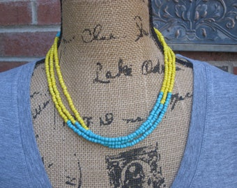 Long Beaded necklace color block necklace long seed bead necklace yellow & turquoise Bohemian necklace boho jewelry long  beaded choker