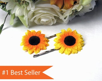 Sunflower Hair Clip || Sunflower Hair Pins || Sunflower Hair Accessories || Bridesmaids Gifts