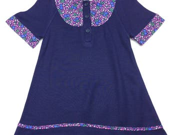 Vintage mothercare blue ditsy floral button front dress age 2-3