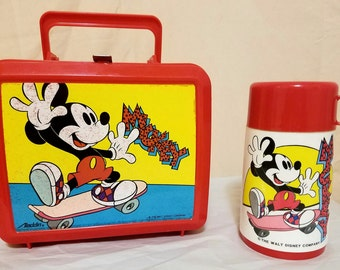 Mickey Mouse Vintage Lunchbox Skateboard Plastic Red