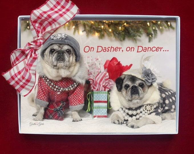 BOXED HOLIDAY Cards - Pug Holiday Cards - 5x7 - On Dasher, On Dancer