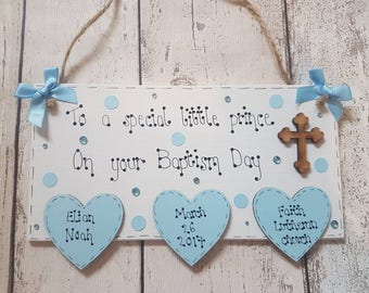 Personalised Christening Wooden Plaque. Naming Day, Baptism.