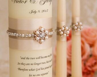 Wedding Unity Candle Set, Champagne Unity Candles, Chanpagne Wedding Candles, Custom Color Wedding Candles, Bling Wedding Candles