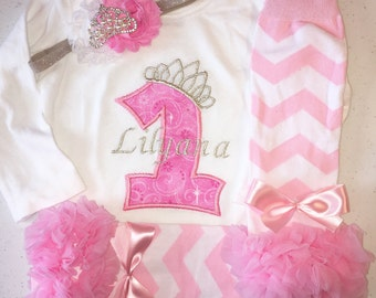 Girl First Birthday Princess Outfit, Baby Girl Princess Birthday Outfit, Girl First Birthday Outfit, Princess Birtthday Outfit