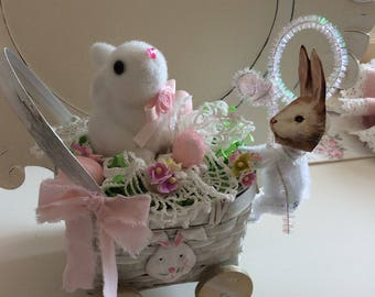 SALE  Whitewashed Bunny Carriage