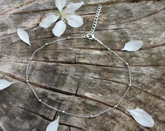Basics // Silver Satellite Bead Layering Chain Choker Necklace Simple Boho