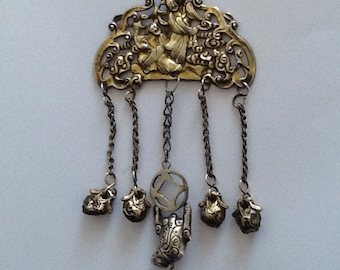 Chinese Spirit Pendant with Dangling Bells. (Reserved for Lin.).