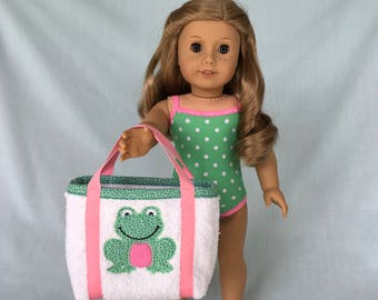 Green Polka Dot Bathing Suit and Frog Beach Bag for American Girl/18 Inch Doll
