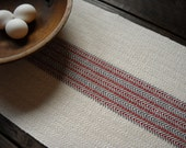 "RESERVED for Kim - Short Handwoven Table Runner - Woven Centerpiece Runner - Cream, Red, Gray Striped Herringbone Cotton and Linen 12.5""x32"""