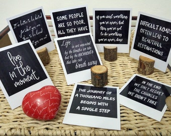 Chalkboard prints in polaroid format, quotes about life, set of 8 prints, motivational prints, motivational quotes about life, fake polaroid