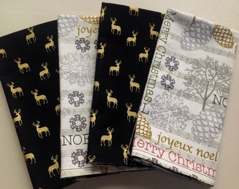 Christmas 4 double-sided napkins beautiful christmas fabric with elegant reindeer on the back .
