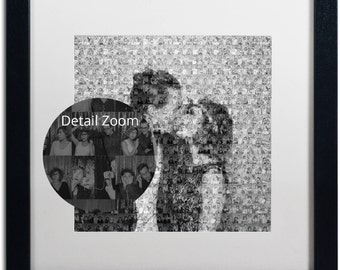 Beautiful Custom BW Printed Mosaic Photo Collage - 12x12 Print (Other sizes available) w/ optional matted frame -  Personal Photo Gift Idea