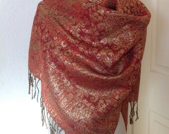 Red and Gold Pashmina Scarf