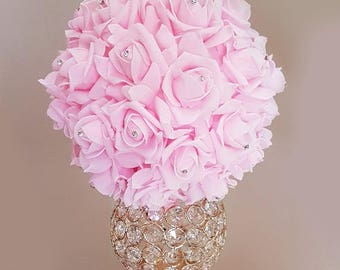 Pink Rose Pomander,  Flower Ball, Pink Kissing Ball