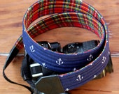 Mens camera strap, camera neck strap, dslr camera strap, navy blue anchor, fathers day gift, navy blue plaid nautical strap, reversible