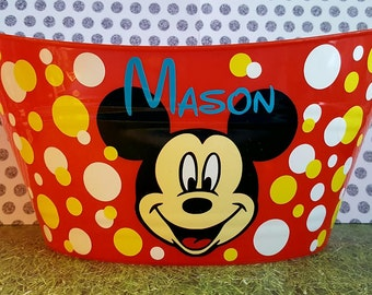Personalized Oval Easter Tub, Toy Storage Basket with Mickey Mouse