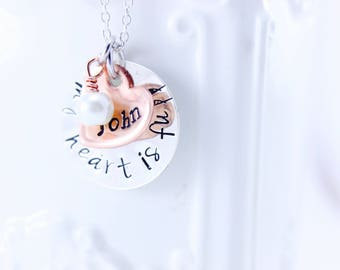 My Heart is Full Sterling Silver and Copper Mommy Necklace