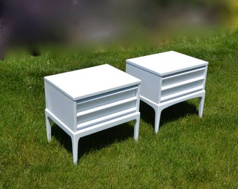 SOLD MCM Lane white Nightstands/Pair of bedside tables. Pair of End tables