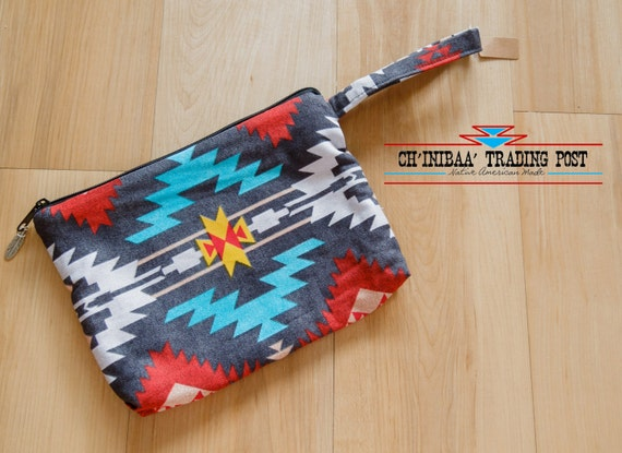 Navajo Clutch Wristlet- Grey, Red, Turquoise, and Yellow By SommerNani