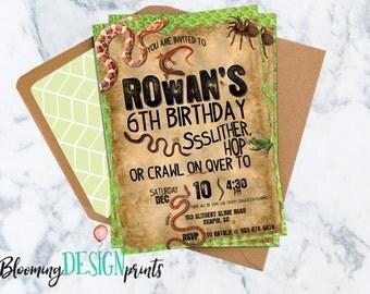 Snakes, Reptile, Creepy Crawly Birthday Invitation