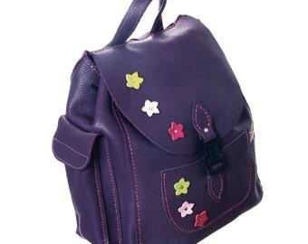 Backpack leather Rucksack Purple Rucksack Purple Bag Purple Handbag
