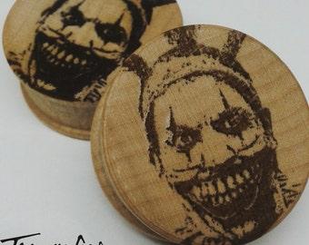 Evil clown troy amercican horror story wood plugs pair