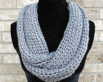 Gray Crochet Infinity Scarf - Teal Crochet Infinity Cowl - Crochet Snood - Mother's Day Gift - Women's Gift - Gift for Mom - Mobius Dream