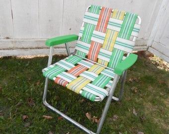 1960u0027s Vintage Aluminum Lawn Chair   Childu0027s Youth Size   Folding Design,  Plastic Arm Rests