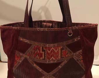 Vintage Suede Tapestry and Snakeskin Tote