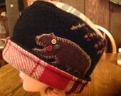 Pill Box, Cloche Hat, Recycled Wool Sweater Hat, Fleece Hat, Black Boiled Wool Hat,