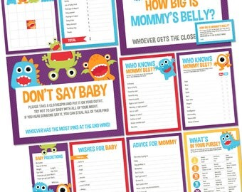 Little Monster Baby Shower Games Package - Printable Game Cards - Funny Baby Games - Gender Neutral Baby Shower Activities