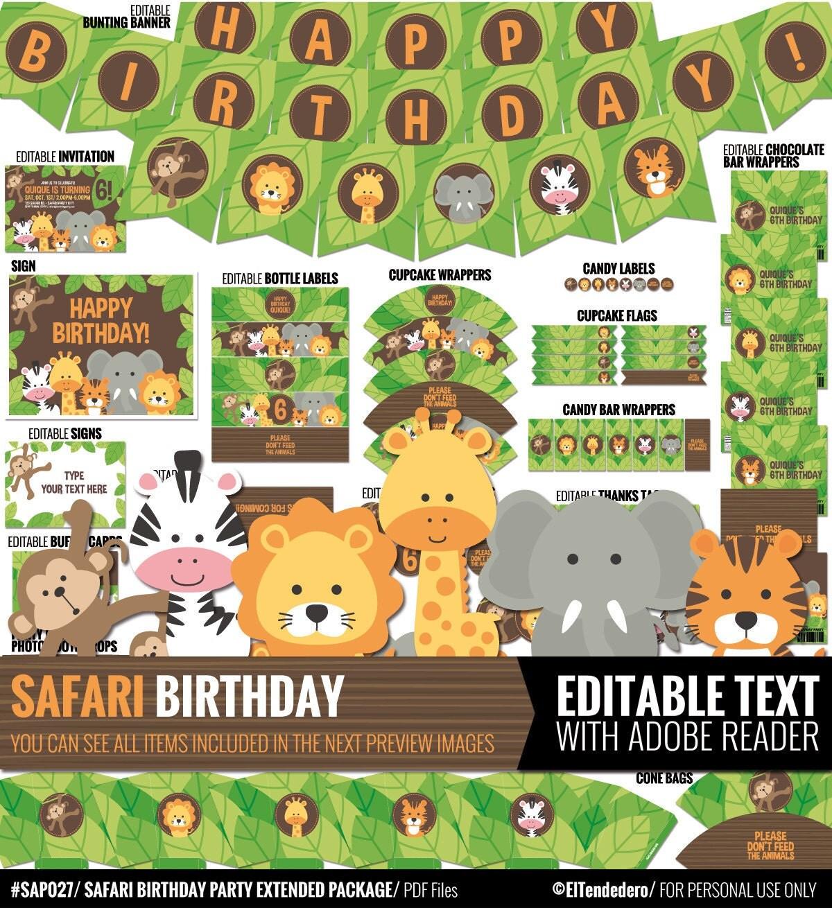 Google themes on safari - Safari Birthday Decorations Package Printable Jungle Theme Kids Birthday Party Decor Funny Gender Neutral First Birthday Editable