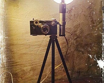 Upcycled retro Argus C3 Camera Lamp with crusty tripod and a touch of Steampunk flair