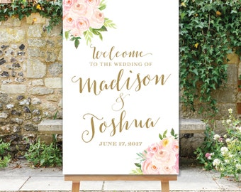 PRINTABLE Wedding Welcome Sign Blush Pink and Gold Watercolor Flowers Floral Welcome Sign Digital PDF JPG Sign The Bella