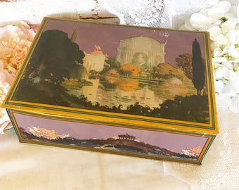 Antique Art Nouveau Deco Canco tin box, purple violet water scene, biscuit candy, canister, vanity, trinket, storage