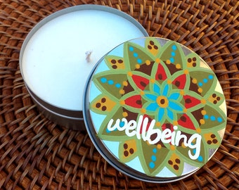 Candle Tin - All Natural Soy Wax 4 oz. Candle with Original Artwork Intention - Wellbeing