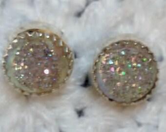 White Druzy Stud Earrings