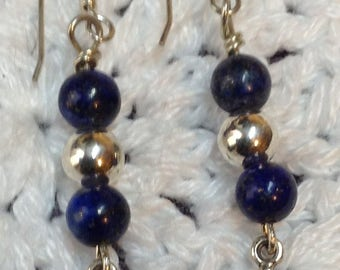 Earrings with Lapis and Silver beads andCross
