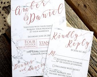 Copper and Marble Wedding Invitation Suite / Marble Invitation / Granite invite / Deposit