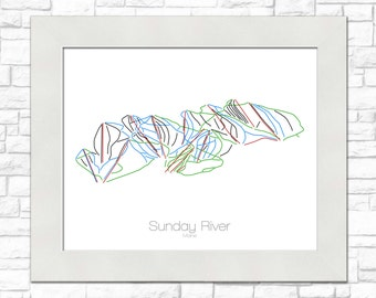 Sunday River Map Maine ME Ski Snowboard Trail Map Art --- Print, Poster, Picture --- Frame, Gift, Present --- Resort, Mountain, Snow, Winter