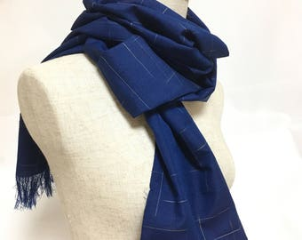 "Blue silk scarf, strips scarf, made of kimono fabric, 79.5"", made in Japan, eco friendly"