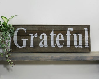 Thanksgiving Barn Wood Sign, Rustic Grateful Décor, November, Primitive home decor, Autumn Fall, reclaimed pallet sign, wooden wall hangings