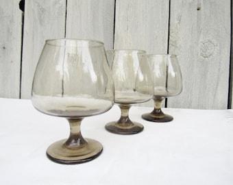Libbey brown glassware, Tawney accents 1970s smokey brown snifter glasses, rock sharpe pattern, set 3, brown vintage glassware, liquor glass