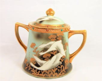 Nippon Hand Painted Swans/Geese Sugar  bowl w Gold Detail Home Decor