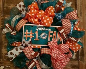 Miami Dolphin wreath.  #1 fan. Football wreath.  Dolphins.  Miami dolphin football.