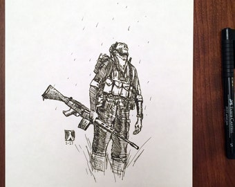 KillerBeeMoto: Sketch of a Special Operations Soldier Original Piece 1 of 1 8 by 10 Inches