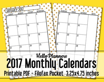 2017 Dated Monthly Calendar Printables- Filofax Pocket Size Gold