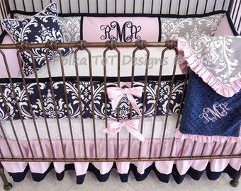 Navy, Pink & Grey Baby Girl Crib Bedding Set : Rachel