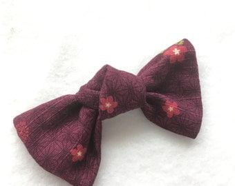 Bow clip, Japanese traditional pattern Fabric Bow, Japanese hair clip,  hair accessory, purple Japanese ribbon, FREE SHIPPING